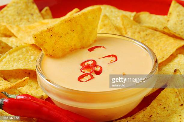 Nachos with cream dip