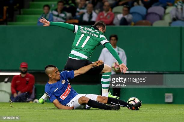 Nacionals defender Victor Garcia from Venezuela and Sportings midfielder Bruno Cesar from Brazil during Premier League 2016/17 match between Sporting...