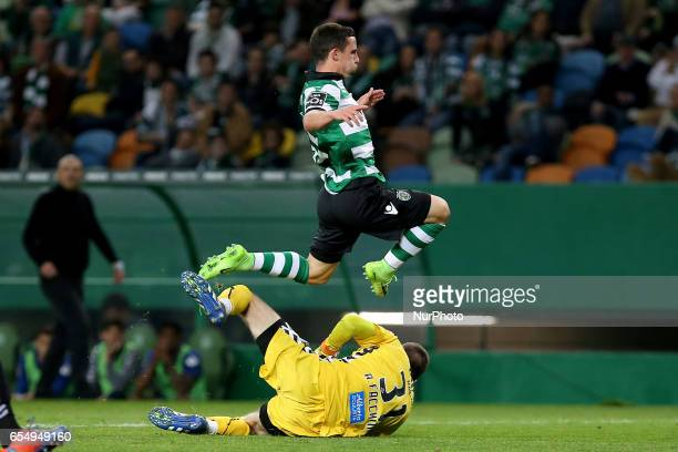 Nacionals goalkeeper Adriano Facchini from Brazil and Sportings forward Daniel Podence from Portugal during Premier League 2016/17 match between...