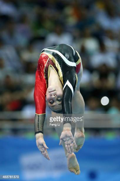 Nada Ayman Ibrahim of Egypt competes in the Women's Artistic Gymnastics Qualification on day two of Nanjing 2014 Summer Youth Olympic Games at...