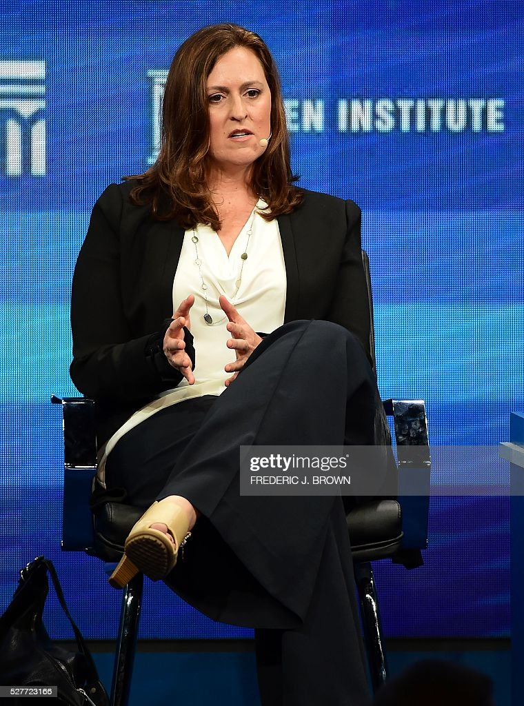 Nada Bakos, Former Analyst, Central Intelligence Agency, speaks during the lunch programme panel 'ISIS and Global Terrorism: What It Will Take to Defeat Them' at the 2016 Milken Institute Global Conference in Beverly Hills, California on May 3, 2016. / AFP / FREDERIC