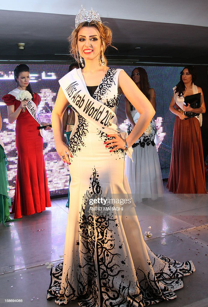 Nadeen Fahd of Syria poses after being awarded 6th Miss Arab World late on December 23, 2023 in Giza. Twenty-two contests from 22 countries were taking place in the competition.