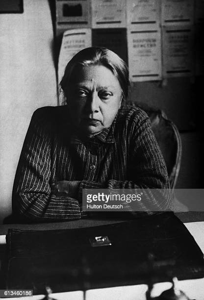 Nadezhda Konstantinova Krupskaya wife of Vladimir Lenin sits at her desk