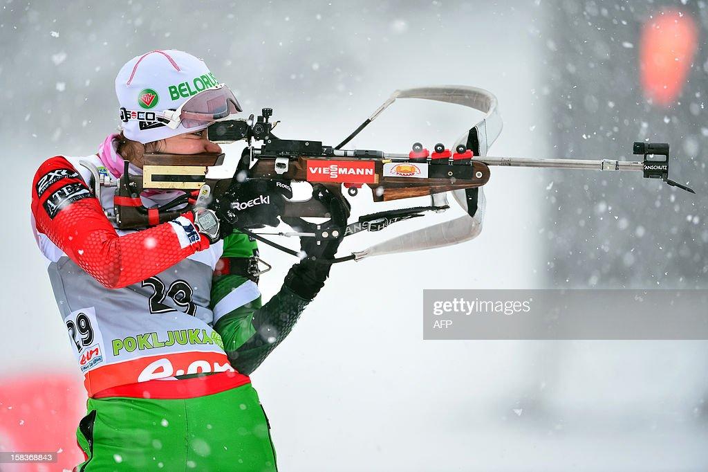 Nadezhda Skardino of Belarus aims during the 7.5 km women's sprint event at the IBU World Cup Biathlon in Pokljuka on December 14, 2012.