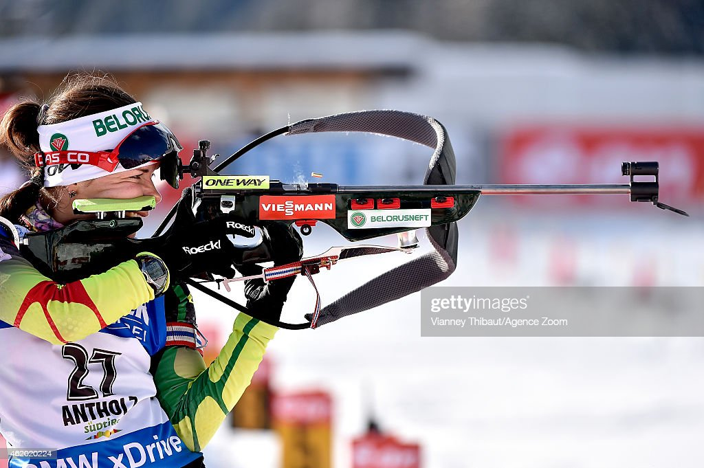 <a gi-track='captionPersonalityLinkClicked' href=/galleries/search?phrase=Nadezhda+Skardino&family=editorial&specificpeople=4105956 ng-click='$event.stopPropagation()'>Nadezhda Skardino</a> of Belarus competes during the IBU Biathlon World Cup Women's Sprint on January 23, 2015 in Antholz-Anterselva, Italy.