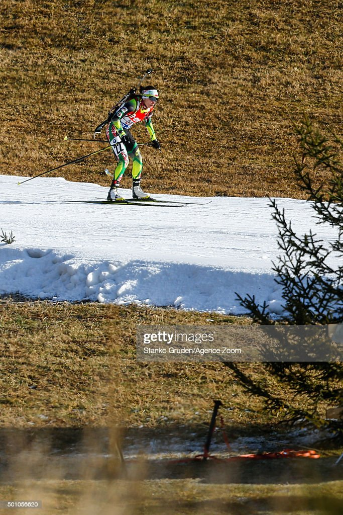 <a gi-track='captionPersonalityLinkClicked' href=/galleries/search?phrase=Nadezhda+Skardino&family=editorial&specificpeople=4105956 ng-click='$event.stopPropagation()'>Nadezhda Skardino</a> of Belarus competes during the IBU Biathlon World Cup Men's and Women's Pursuit on December 12, 2015 in Hochfilzen, Austria.