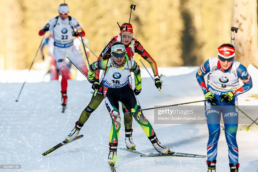 <a gi-track='captionPersonalityLinkClicked' href=/galleries/search?phrase=Nadezhda+Skardino&family=editorial&specificpeople=4105956 ng-click='$event.stopPropagation()'>Nadezhda Skardino</a> of Belarus competes during the IBU Biathlon World Cup Men's and Women's Mass Start on December 20, 2015 in Pokljuka, Slovenia.