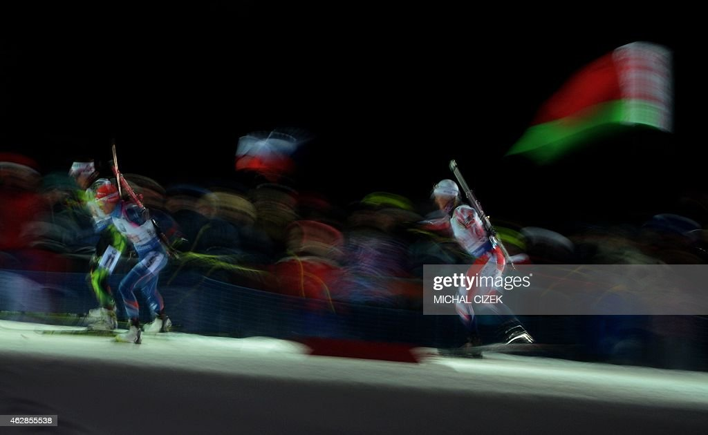 <a gi-track='captionPersonalityLinkClicked' href=/galleries/search?phrase=Nadezhda+Skardino&family=editorial&specificpeople=4105956 ng-click='$event.stopPropagation()'>Nadezhda Skardino</a> of Belarus, Veronika Vitkova of Czech Republic and <a gi-track='captionPersonalityLinkClicked' href=/galleries/search?phrase=Amanda+Lightfoot&family=editorial&specificpeople=7543619 ng-click='$event.stopPropagation()'>Amanda Lightfoot</a> of Great Britain compete during the Mixed 2x6 plus 2x7,5 Km Relay competition, part of IBU World Cup Biathlon in Nove Mesto, Czech Republic, on February 6, 2015. Norway's team won ahead of Czech Republic's and Ukraine.