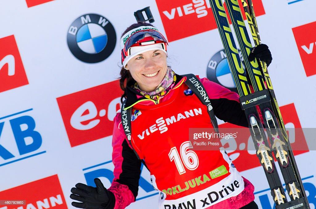 <a gi-track='captionPersonalityLinkClicked' href=/galleries/search?phrase=Nadezhda+Skardino&family=editorial&specificpeople=4105956 ng-click='$event.stopPropagation()'>Nadezhda Skardino</a> (BLR) on the podium celebrating her third place at the Biathlon World Cup 12,5km Mass Start Women on Pokljuka 2014.