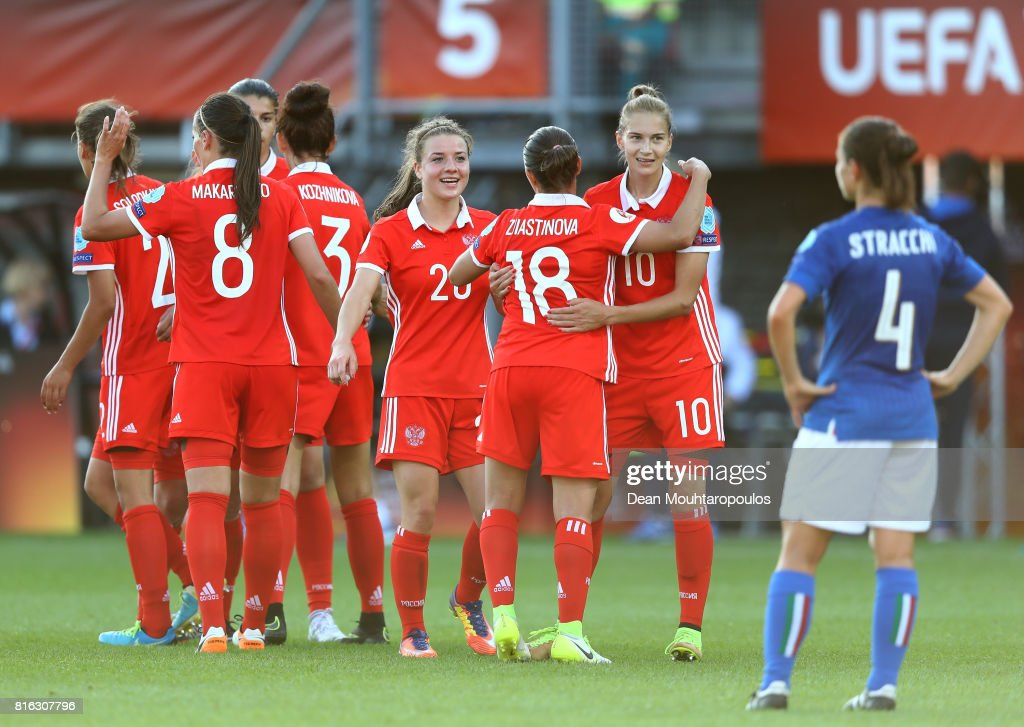 Nadezhda Smirnova #10 of Russia celebrate victory over Italy during the Group B match between Italy and Russia during the UEFA Women's Euro 2017 at Sparta Stadion on July 17, 2017 in Rotterdam, Netherlands.