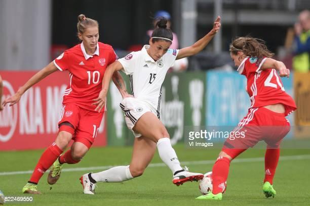 Nadezhda Smirnova of Russia women Sara DoorsounKhajeh of Germany women Margarita Chernomyrdina of Russia women during the UEFA WEURO 2017 Group B...