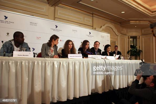 Nadezhda Tolokonnikova and Maria Alekhina of Pussy Riot participate in a press conference of the Cinema For Peace foundation in Berlin on February 10...