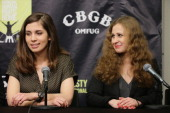 Nadezhda Tolokonnikova and Maria Alyokhina of Pussy Riot attend the Amnesty International Concert presented by the CBGB Festival at Barclays Center...