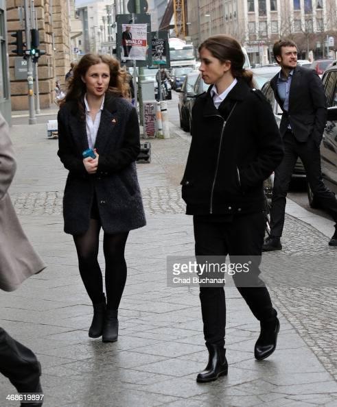 Nadezhda Tolokonnikova and Maria Alyokhina of the band Pussy Riot sighted at Borchardt Restaurant on February 11 2014 in Berlin Germany