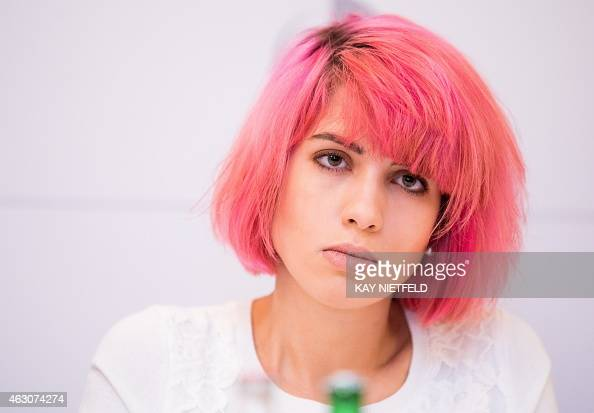 Nadezhda Tolokonnikova of Russian punk protest group Pussy Riot attends a press conference for the 'Cinema for Peace' gala in Berlin on February 9...