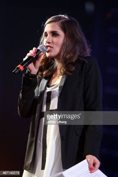 Nadezhda Tolokonnikova speaks during the Amnesty International 'Bringing Human Rights Home' Concert at the Barclays Center on February 5 2014 in the...