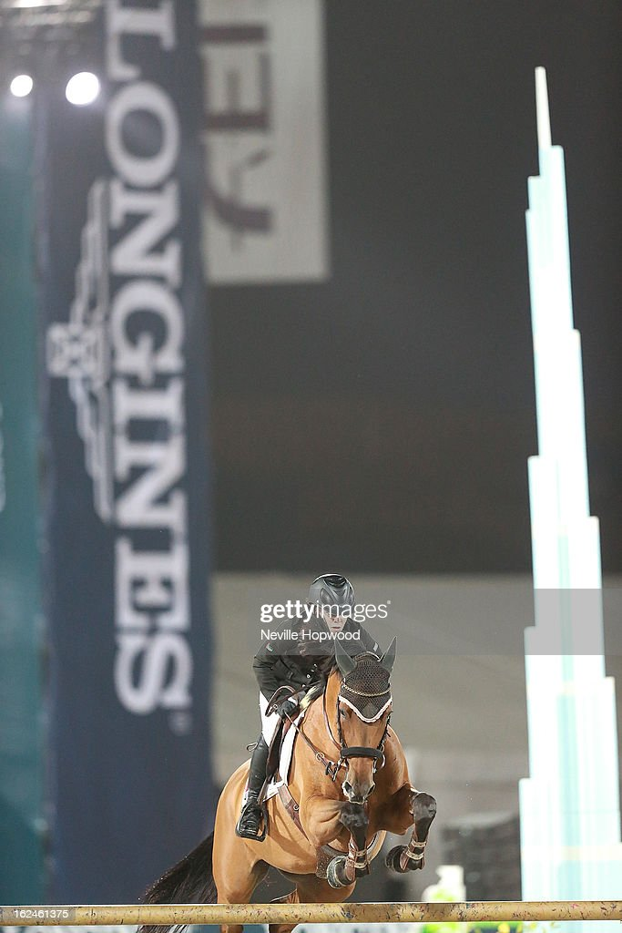 Nadia Abdul Aziz Taryam of the United Arab Emirates rides Larina during the President of the UAE Showjumping Cup - Furusiyyah Nations Cup Series presented by Longines on February 23, 2013 in Al Ain, United Arab Emirates.