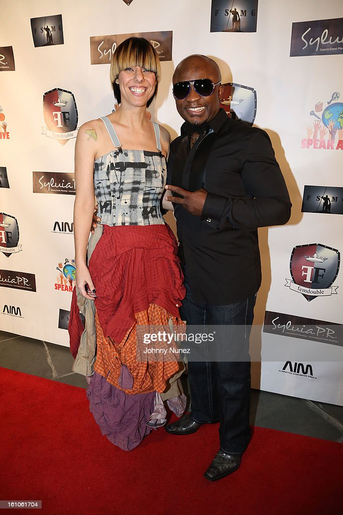 Nadia Ackerman and Femi Ojetunde attend the Femdouble Producers Choice Honorees Gala at Bel Air Ship Mansion on February 8, 2013 in Belair, California.