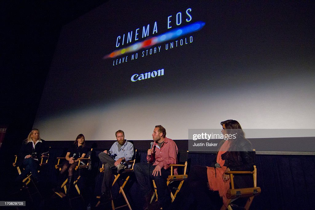 Nadia Albright, Julie Garces, Mark Schwartzbard, Jake Goldberger, and Tatiana Kelly attend Spotlight on the Craft: Canon Explores Creative Collaboration during the 2013 Los Angeles Film Festival at Regal Cinemas L.A. Live on June 16, 2013 in Los Angeles, California.