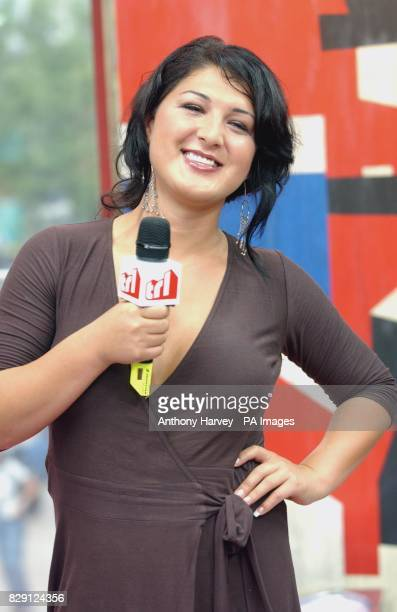 Nadia Almada the winner of reality TV show Big Brother 5 during her guest appearance on MTV's TRL Total Request Live show at their new studios in...