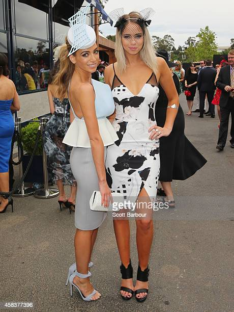 Nadia Bartel and Big Brother's Tully Smyth attend the Lavazza Marquee on Melbourne Cup Day at Flemington Racecourse on November 4 2014 in Melbourne...