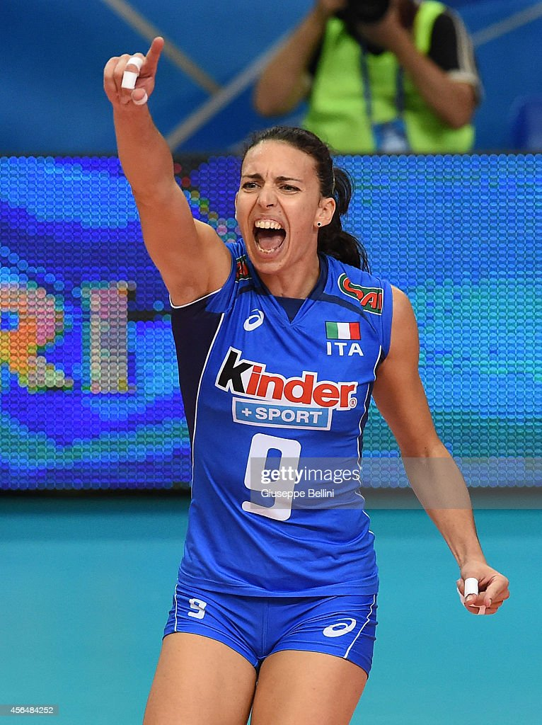 <a gi-track='captionPersonalityLinkClicked' href=/galleries/search?phrase=Nadia+Centoni&family=editorial&specificpeople=2309657 ng-click='$event.stopPropagation()'>Nadia Centoni</a> of Italy celebrates during the FIVB Women's World Championship pool E match between Italy and Azerbaijan on October 1, 2014 in Bari,Italy,