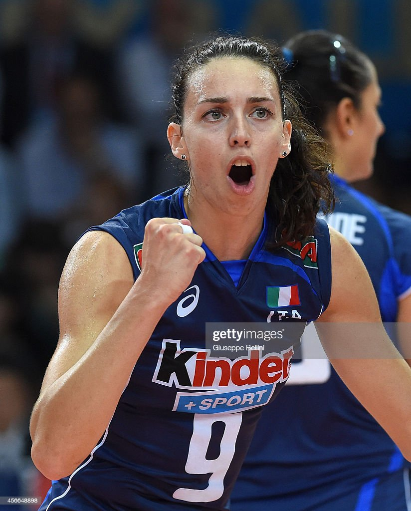 <a gi-track='captionPersonalityLinkClicked' href=/galleries/search?phrase=Nadia+Centoni&family=editorial&specificpeople=2309657 ng-click='$event.stopPropagation()'>Nadia Centoni</a> of Italy celebrates during the FIVB Women's World Championship pool E match between Italy and Japan on October 4, 2014 in Bari, Italy.