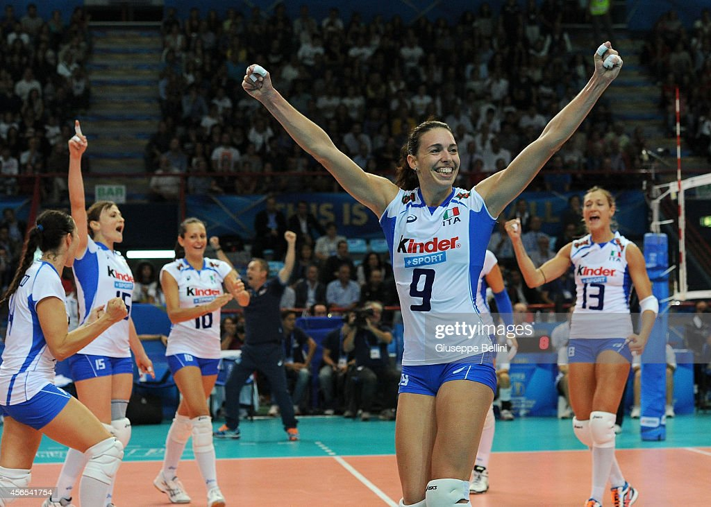 <a gi-track='captionPersonalityLinkClicked' href=/galleries/search?phrase=Nadia+Centoni&family=editorial&specificpeople=2309657 ng-click='$event.stopPropagation()'>Nadia Centoni</a> of Italy celebrates the victory after the FIVB Women's World Championship pool E match between Italy and Belgium on October 2, 2014 in Bari, Italy.