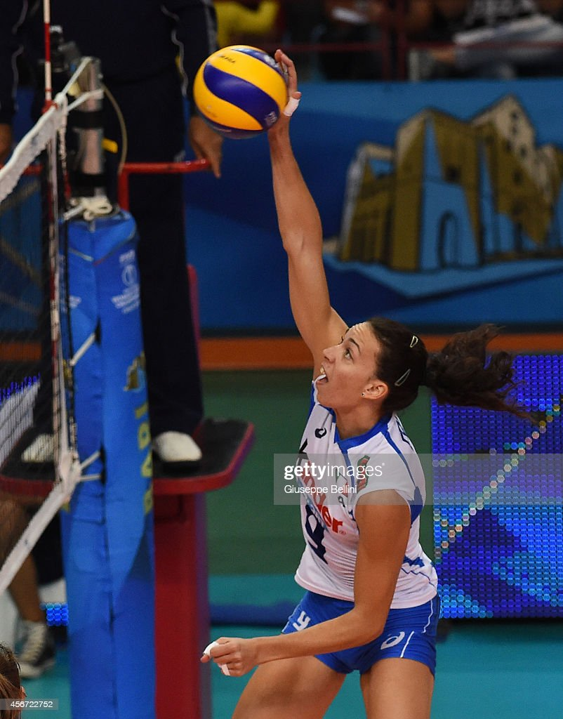<a gi-track='captionPersonalityLinkClicked' href=/galleries/search?phrase=Nadia+Centoni&family=editorial&specificpeople=2309657 ng-click='$event.stopPropagation()'>Nadia Centoni</a> of Italy in action during the FIVB Women's World Championship pool E match between Italy and Belgium on October 2, 2014 in Bari, Italy.