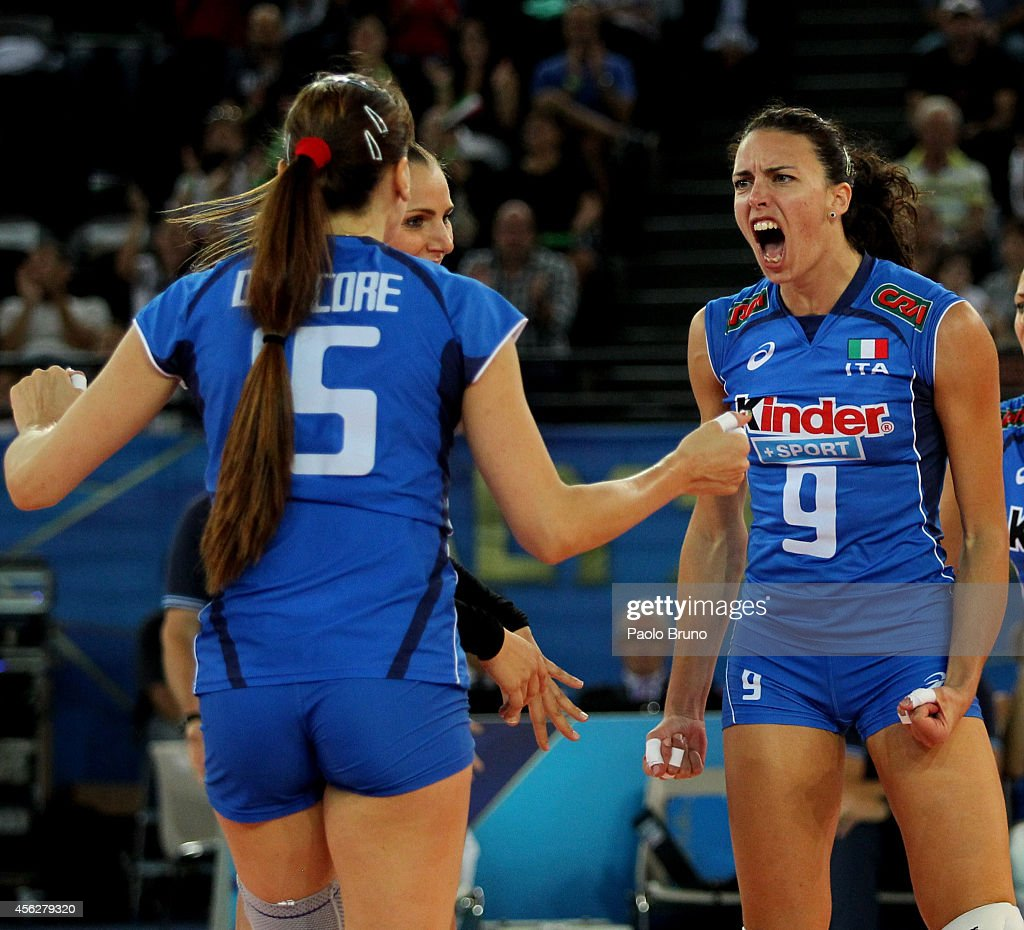 <a gi-track='captionPersonalityLinkClicked' href=/galleries/search?phrase=Nadia+Centoni&family=editorial&specificpeople=2309657 ng-click='$event.stopPropagation()'>Nadia Centoni</a> of Italy reacts during the FIVB Women's World Championship pool A match between Italy and Dominican Republic at Palalottomatica on September 28, 2014 in Rome, Italy.