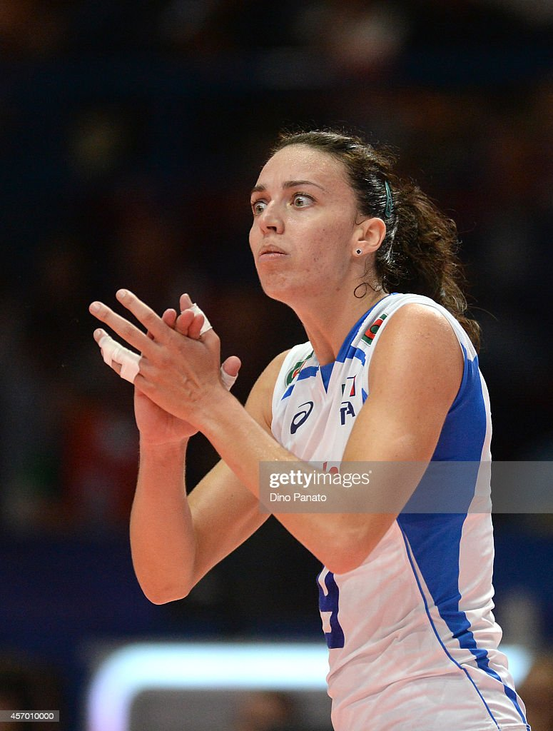 <a gi-track='captionPersonalityLinkClicked' href=/galleries/search?phrase=Nadia+Centoni&family=editorial&specificpeople=2309657 ng-click='$event.stopPropagation()'>Nadia Centoni</a> of Italy reacts during the FIVB Women's World Championship pool H match between Italy and Russia on October 10, 2014 in Milan, Italy.