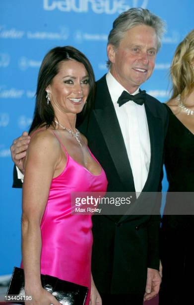 Nadia Comaneci and Michael Douglas during 2004 Laureus World Sports Awards Arrivals at Centro Cultural De Belem in Estoril Portugal