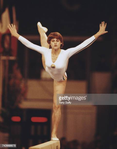 Nadia Comaneci of Romania performs during the Women's Balance Beam event on 25 October 1978 during the World Artistic Gymnastics Championships at the...
