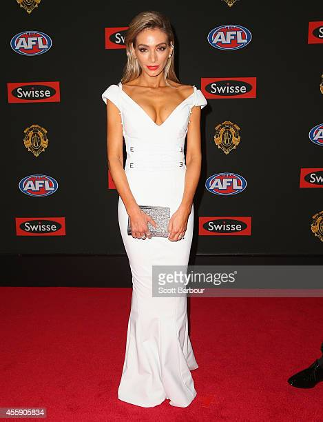Nadia Coppolino wife of Jimmy Bartel of the Geelong Cats attends the 2014 Brownlow Medal at Crown Palladium on September 22 2014 in Melbourne...