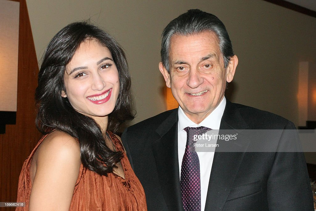 Nadia Dabbakeh and Stephen Urquhart, President of Omega attend the Grand Opening of the Omega Boutique at NorthPark on January 15, 2013 in Dallas, Texas.