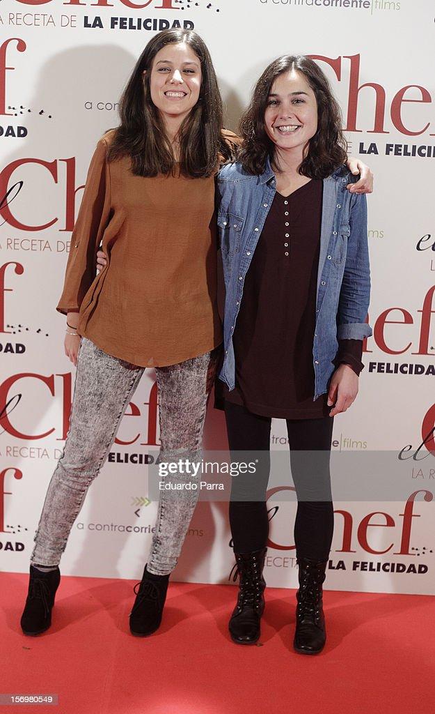 Nadia de Santiago (R) and friend attend 'El chef, la receta de la felicidad' ('Comme un chef') premiere photocall at Palafox cinema on November 26, 2012 in Madrid, Spain.