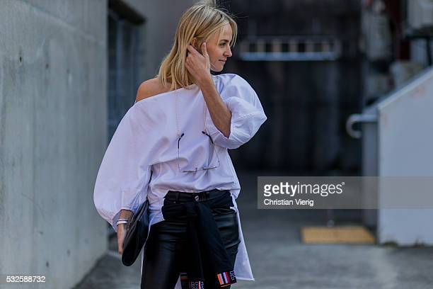 SYDNEY AUSTRALIA MAY 19 Nadia Fairfax wearing black leather pants at MercedesBenz Fashion Week Resort 17 Collections at Carriageworks on May 19 2016...