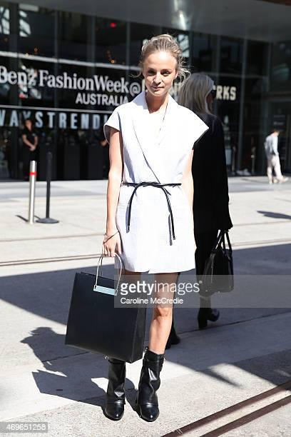 Nadia Fairfax wearing Phillip Lim dress Balenciaga bag and Givenchy boots at MercedesBenz Fashion Week Australia 2015 at Carriageworks on April 14...
