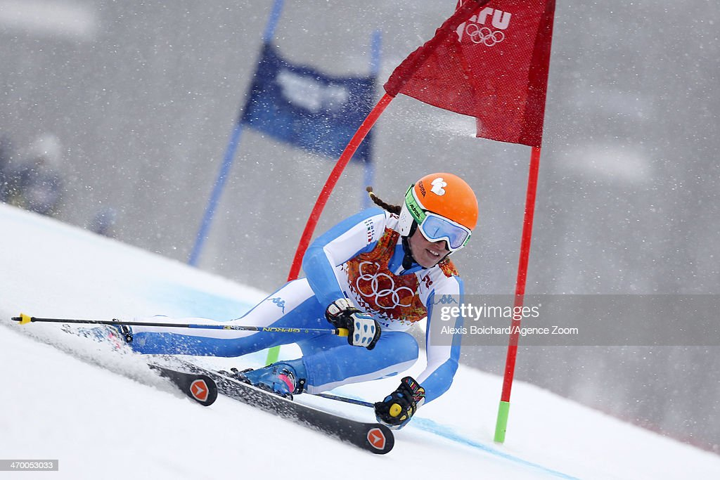 Nadia Fanchini of Italy competes during the Alpine Skiing Women's Giant Slalom at the Sochi 2014 Winter Olympic Games at Rosa Khutor Alpine Centre on February 18, 2014 in Sochi, Russia.