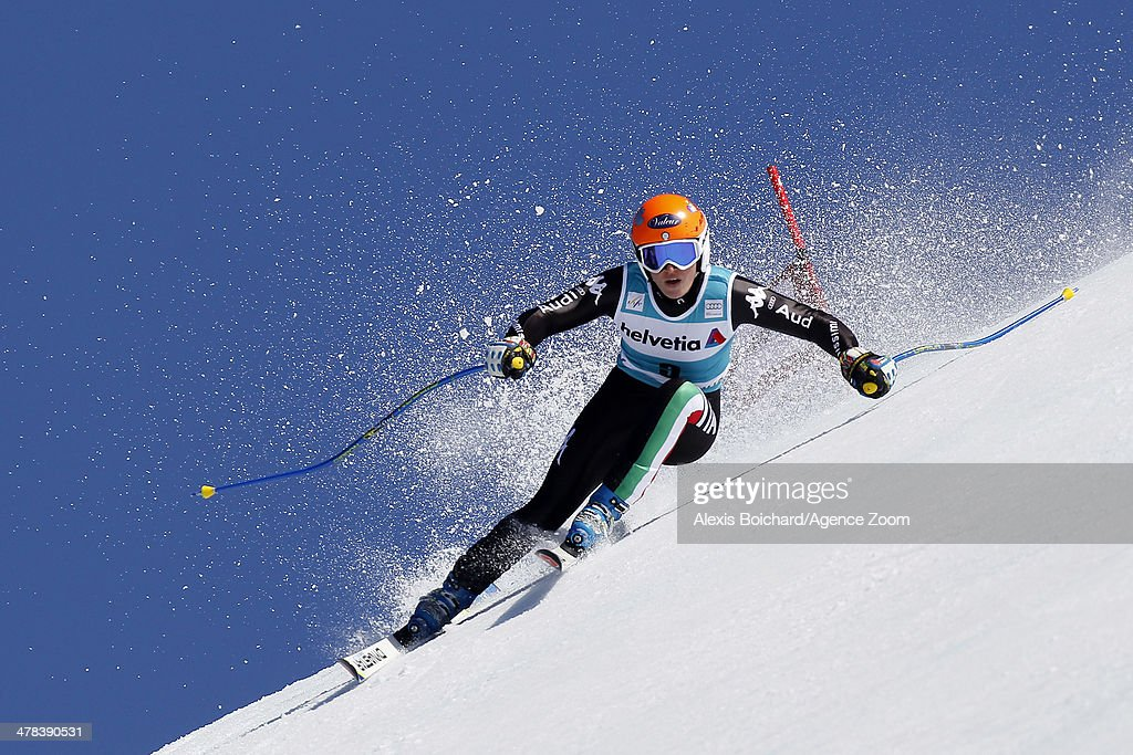 <a gi-track='captionPersonalityLinkClicked' href=/galleries/search?phrase=Nadia+Fanchini&family=editorial&specificpeople=792695 ng-click='$event.stopPropagation()'>Nadia Fanchini</a> of Italy competes during the Audi FIS Alpine Ski World Cup Finals Women's Super-G on March 13, 2014 in Lenzerheide, Switzerland.