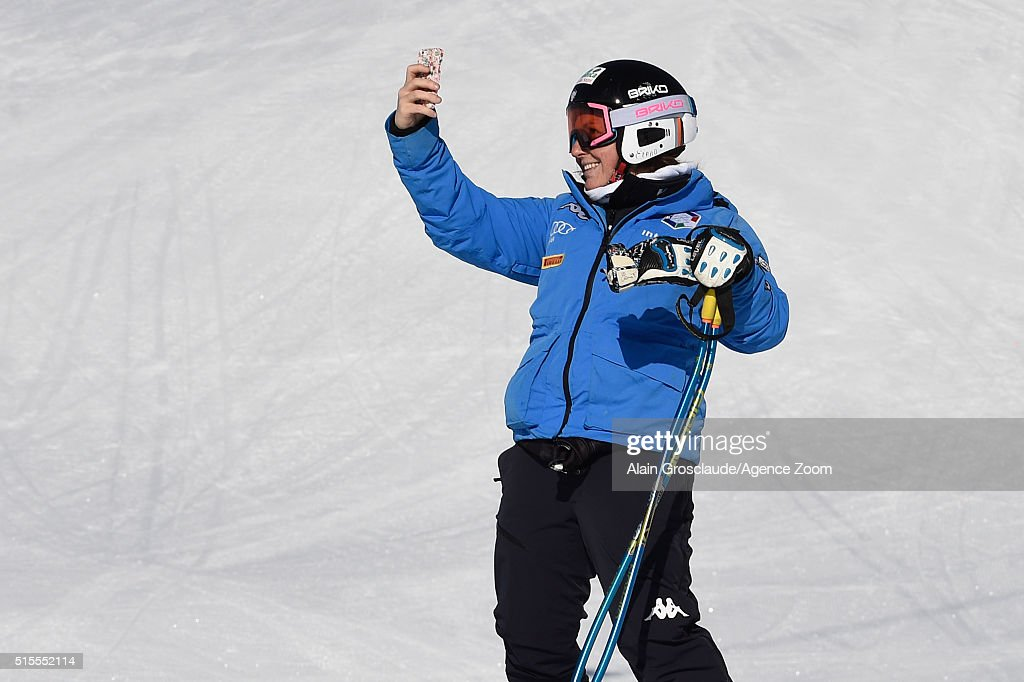 <a gi-track='captionPersonalityLinkClicked' href=/galleries/search?phrase=Nadia+Fanchini&family=editorial&specificpeople=792695 ng-click='$event.stopPropagation()'>Nadia Fanchini</a> of Italy during the Audi FIS Alpine Ski World Cup Finals Women's Downhill Training on March 14, 2016 in St. Moritz, Switzerland.