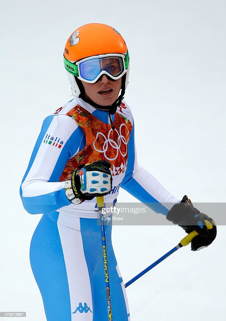 <a gi-track='captionPersonalityLinkClicked' href=/galleries/search?phrase=Nadia+Fanchini&family=editorial&specificpeople=792695 ng-click='$event.stopPropagation()'>Nadia Fanchini</a> of Italy reacts after a run during the Alpine Skiing Women's Giant Slalom on day 11 of the Sochi 2014 Winter Olympics at Rosa Khutor Alpine Center on February 18, 2014 in Sochi, Russia.