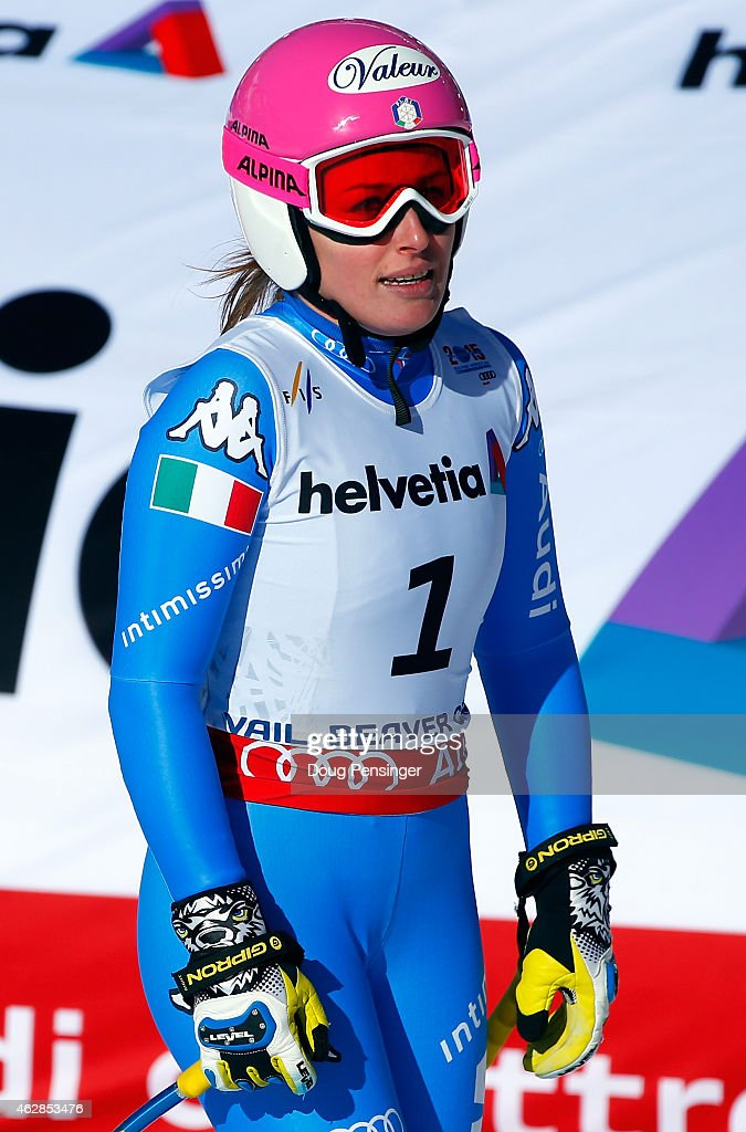 <a gi-track='captionPersonalityLinkClicked' href=/galleries/search?phrase=Nadia+Fanchini&family=editorial&specificpeople=792695 ng-click='$event.stopPropagation()'>Nadia Fanchini</a> of Italy reacts after crossing the finish of the Ladies' Downhill in Red Tail Stadium on Day 5 of the 2015 FIS Alpine World Ski Championships on February 6, 2015 in Beaver Creek, Colorado.