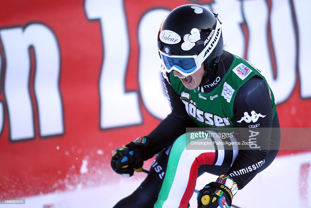 <a gi-track='captionPersonalityLinkClicked' href=/galleries/search?phrase=Nadia+Fanchini&family=editorial&specificpeople=792695 ng-click='$event.stopPropagation()'>Nadia Fanchini</a> of Italy reacts as she competes during the Audi FIS Alpine Ski World Cup Women's Giant Slalom on December 28, 2013 in Lienz, Austria.