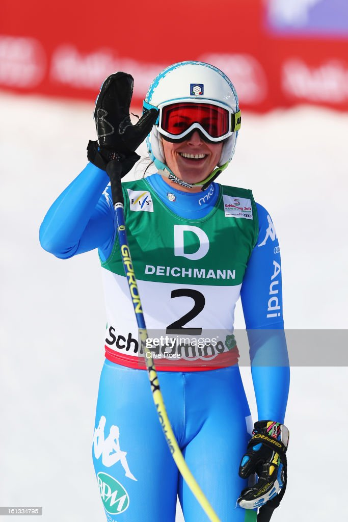 <a gi-track='captionPersonalityLinkClicked' href=/galleries/search?phrase=Nadia+Fanchini&family=editorial&specificpeople=792695 ng-click='$event.stopPropagation()'>Nadia Fanchini</a> of Italy reacts in the finish area after skiing in the Women's Downhill during the Alpine FIS Ski World Championships on February 10, 2013 in Schladming, Austria.