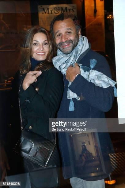 Nadia Fares and Yannig Samot attend Reem Kherici signs her book 'Diva' at the Barbara Rihl Boutique on November 8 2017 in Paris France