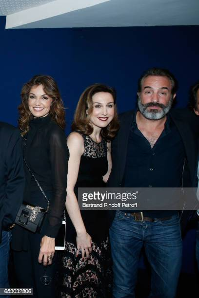 Nadia Fares Elsa Zylberstein and Jean Dujardin attend the 'Chacun sa vie' Paris Premiere at Cinema UGC Normandie on March 13 2017 in Paris France