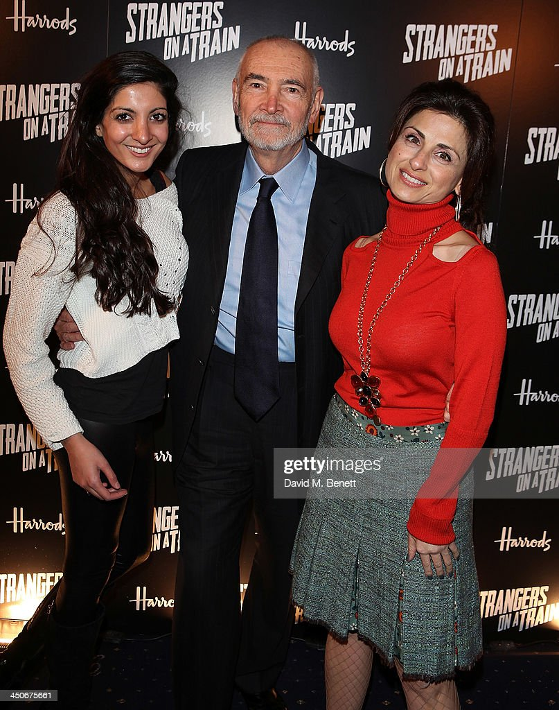 Nadia Manzoor, Michael G Wilson and guest attend an after party following the press night performance of 'Strangers On A Train' at the Cafe de Paris on November 19, 2013 in London, England.
