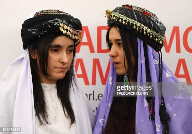 TOPSHOT Nadia Murad and Lamia Haji Bashar public advocates for the Yazidi community in Iraq and survivors of sexual enslavement by the Islamic State...