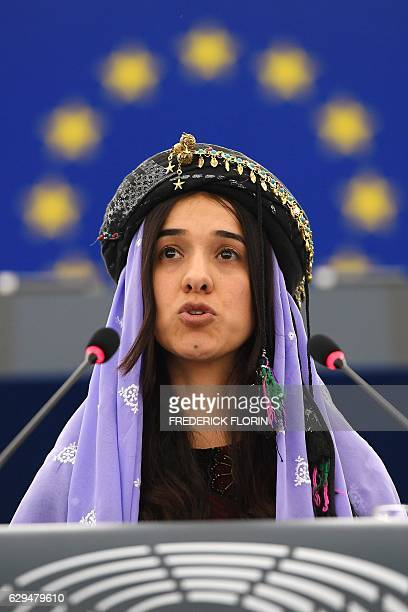 Nadia Murad public advocates for the Yazidi community in Iraq and survivors of sexual enslavement by the Islamic State jihadists delivers a speech...